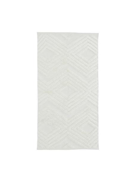 Handgeweven katoenen vloerkleed Carito met verhoogd hoog-laag patroon, 100% katoen, Crèmekleurig, B 80 x L 150 cm (maat XS)