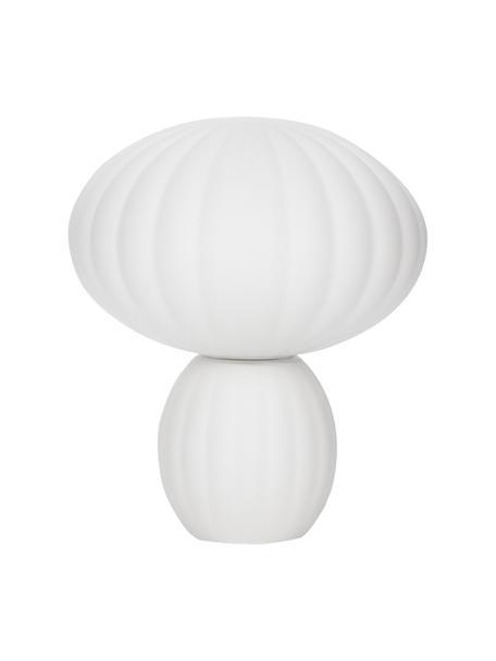 Kleine Tischlampe Bluni aus Opalglas, Lampenschirm: Opalglas, Lampenfuß: Metall, lackiert, Weiß, Ø 23 x H 28 cm
