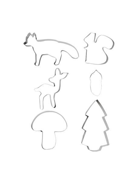 Kerstkoekjesvormen Forrest, 6 stuks, Edelstaal, Zilverkleurig, lichtbruin, multicolour, Set met verschillende formaten