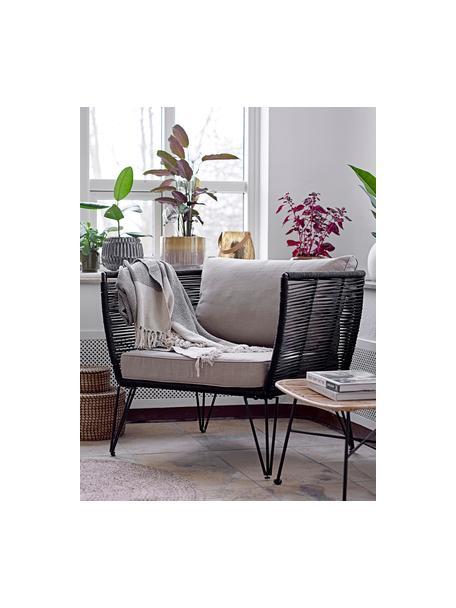 Tuin fauteuil Mundo met kunststoffen vlechtwerk, Frame: gepoedercoat metaal, Zitvlak: polyethyleen, Mat zwart, beige, B 87 x D 74 cm