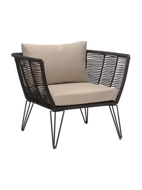 Tuin fauteuil Mundo met kunststoffen vlechtwerk, Frame: gepoedercoat metaal, Zitvlak: polyethyleen, Bekleding: polyester, Zwart, beige, B 87 x D 74 cm