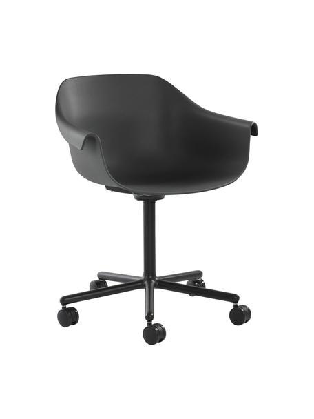 Bureaustoel Warrington in zwart, Zitvlak: polypropyleen, Frame: aluminium, Zwart, 57 x 63 cm