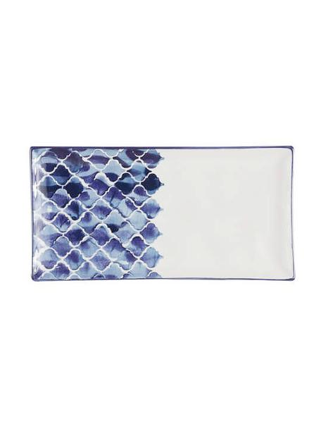 Handgemaakte serveerplateau Ikat, L 29 x B 15 cm, Keramiek, Wit, blauw, 15 x 29 cm