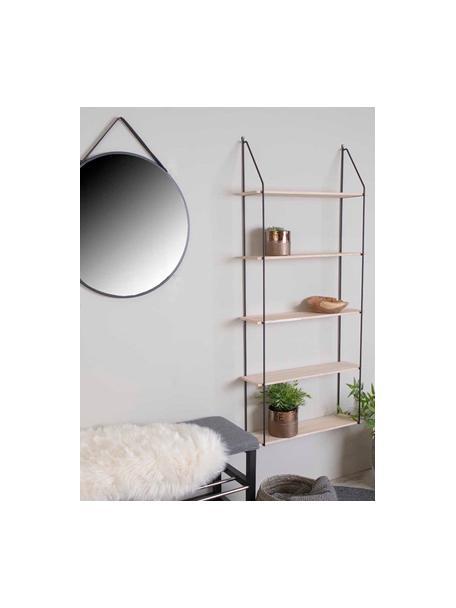 Wandrek Eindhoven met metalen frame, Plank: paulowniahout Paulowniaho, Frame: gecoat metaal, Zwart, paulowniahout, 65 x 145 cm