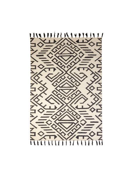 Wollen vloerkleed Jazmin met franjes en ethno patroon, 80% wol, 20% katoen, Beige, zwart, B 120 x L 170 cm (maat S)