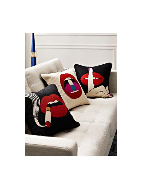 Handbesticktes Designer Kissen Bobbly, mit Inlett, Vorderseite: Wolle, Rückseite: Samt, Beige, Rot, 45 x 45 cm