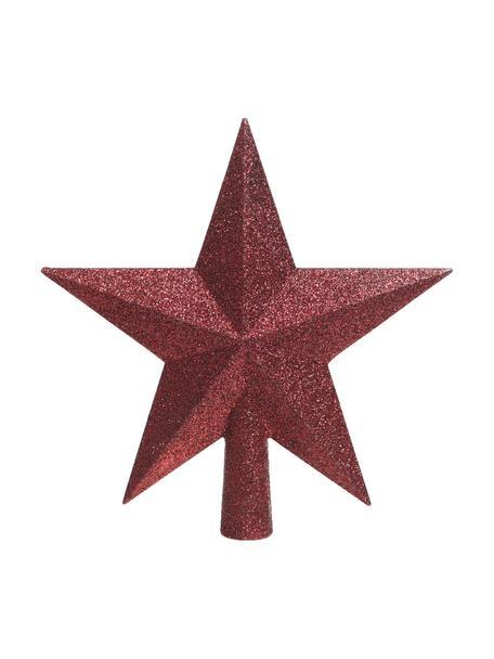 Bruchsichere Weihnachtsbaumspitze Stern Ø 19 cm, Kunststoff, Glitzer, Rot, 19 x 19 cm