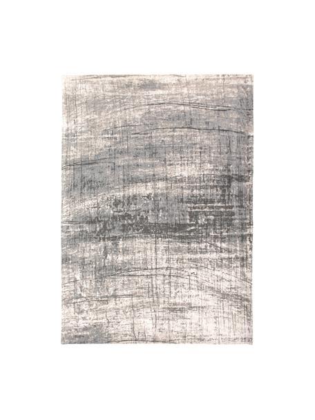 Design vloerkleed Griff in vintage stijl, Bovenzijde: 85%katoen, 15%hoogglanz, Weeftechniek: jacquard, Onderzijde: katoenmix, gecoat met lat, Grijstinten, wit, B 80 x L 150 cm (maat XS)