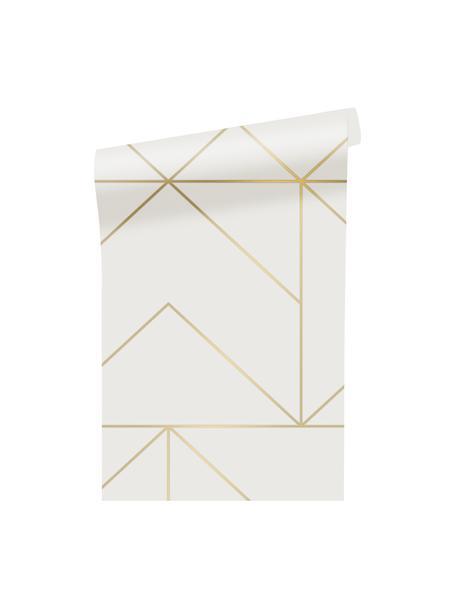 Tapete Gold Geometric Art, Vlies, Weiß, Goldfarben, 52 x 1005 cm