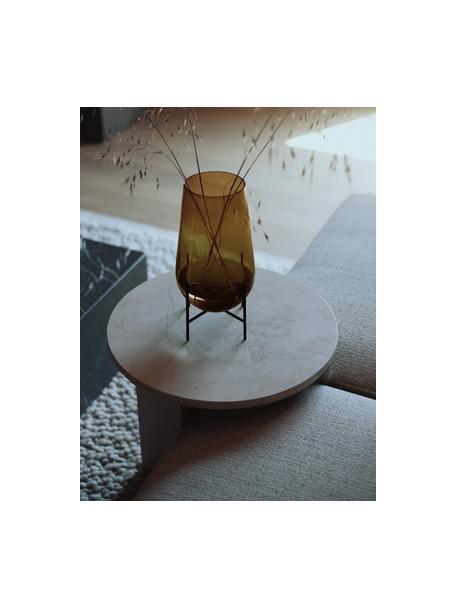 Vaso da terra in vetro soffiato Échasse, Vaso: vetro soffiato, Struttura: ottone, Marrone, bronzo, Ø 15 x Alt. 28 cm