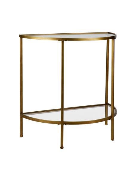 Consolle con piani in vetro Goddess, Struttura: metallo rivestito, Ripiani: vetro, Ottonato, Larg. 76 x Alt. 75 cm