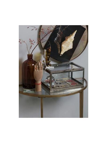 Consolle con piani in vetro e finitura antica Goddess, Cornice: Acciaio verniciato, Ripiani: Vetro, Ottonato, Larg. 76 x Alt. 75 cm