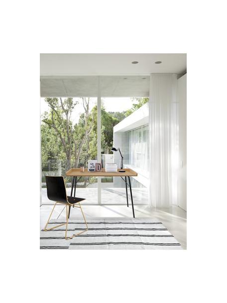 Bureau Rayburn met eikenhoutfineer, Tafelblad: MDF, eikenhoutfineer, Frame: gepoedercoat metaal, Eiken, 115 x 52 cm
