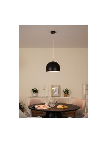 Hanglamp Wilma in zwart, Lampenkap: gepoedercoat metaal, Baldakijn: gepoedercoat metaal, Decoratie: gegalvaniseerd metaal, Zwart, Ø 33  x H 25 cm