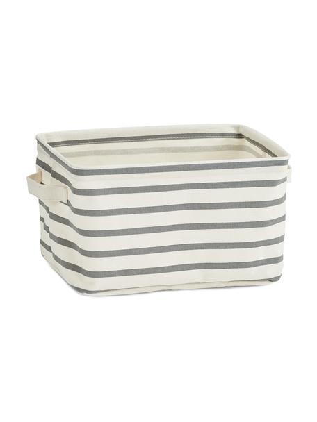 Cesta Stripes, Tela, Grigio, bianco crema, Larg. 28 x Alt. 16 cm