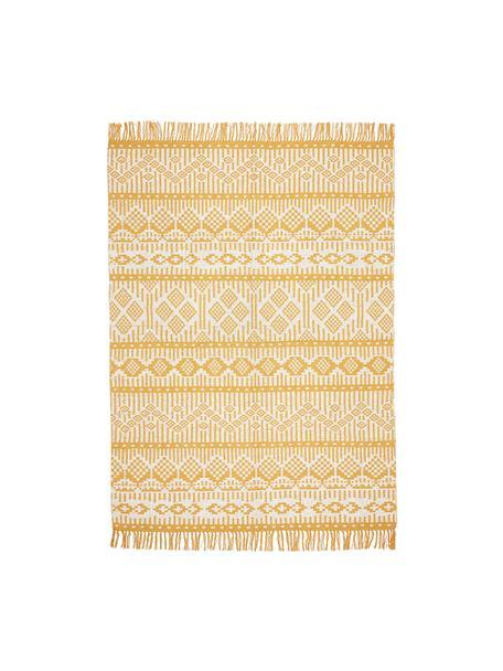 Ethno Teppich Panama aus recycelter Baumwolle, 100% Recycelte Baumwolle, Creme, Senfgelb, B 60 x L 90 cm (Größe XXS)