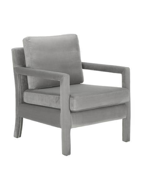 Fluwelen fauteuil Claudette in grijs, Bekleding: fluweel (100% polyester), Frame: massief grenenhout, multi, Grijs, 65 x 75 cm