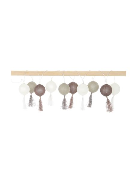 LED-Lichterkette Jolly Tassel, 185 cm, 10 Lampions, Lampions: Baumwolle, Braun, Beige, L 185 cm