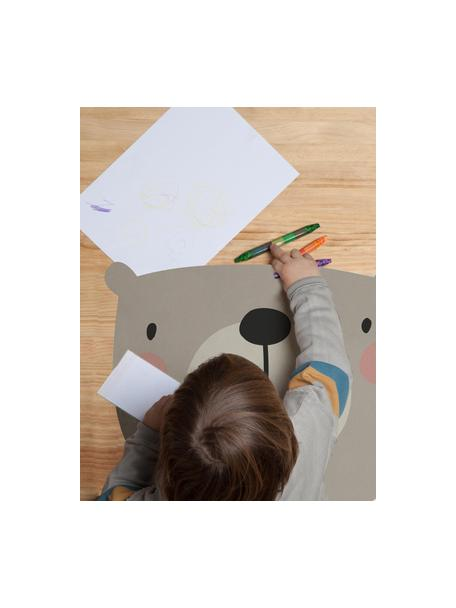 Schreibtischunterlage Bear, Jute- und Harzfaser, Grau, Beige, Rosa, Schwarz, 35 x 55 cm