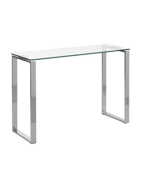 Consola de vidrio Katrine, Estructura: metal recubierto, Estante: vidrio, Cromo, An 110 x Al 76 cm