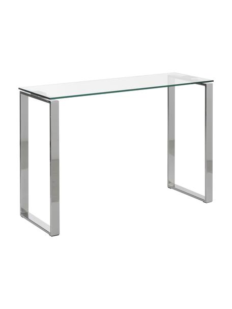Glazen sidetable Katrine met zilverkleurige frame, Gehard glas, metaal, Transparant, 110 x 76 cm