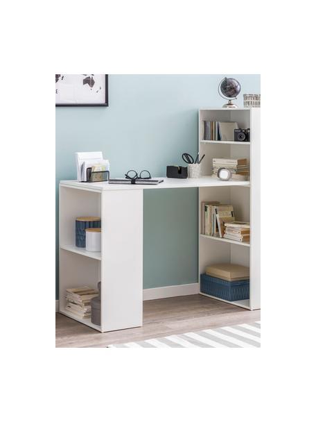 Wit bureau Matt met opbergruimte, Gelakt MDF, Mat wit, 120 x 53 cm