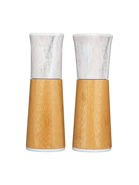 Marmeren zout- en peperstrooierset Dyta, 2-delig, Bamboe, marmer, keramiek, Bamboekleurig, wit, gemarmerd, Ø 6 x H 18 cm