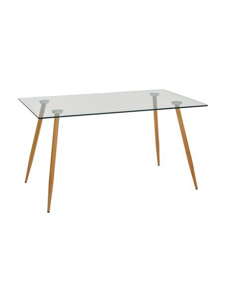 Glas-Esstisch Wilma mit Holzbeinen, Tischplatte: Sicherheitsglas, Beine: Metall, mit Lackierung in, Tischplatte: Transparent Befestigung: Metall Beine: Eiche, B 140 x T 80 cm