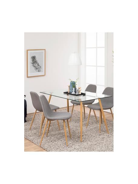 Esstisch Wilma mit Glasplatte, Tischplatte: Sicherheitsglas, Beine: Metall, mit Lackierung in, Transparent, B 140 x T 80 cm