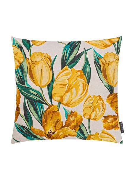 Dubbelzijdige kussenhoes Tulipa met tulpenprint, 85% katoen, 15% linnen, Beige, geel, groen, 50 x 50 cm