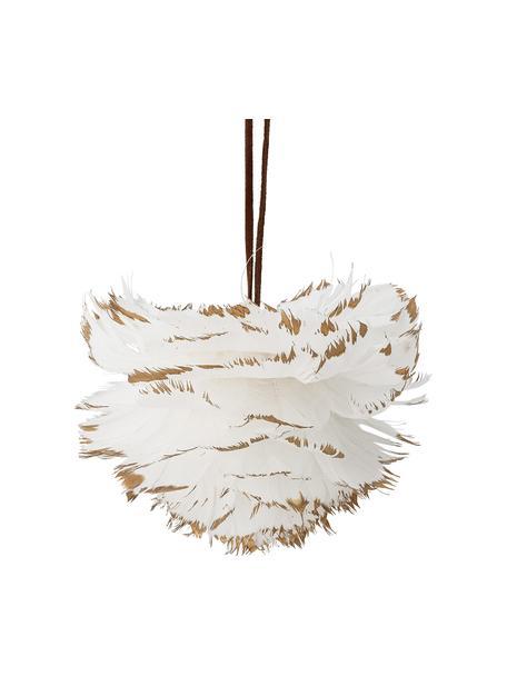 Kerstboomhanger Jaslyn, Veren, Wit, beige, Ø 12 x H 9 cm