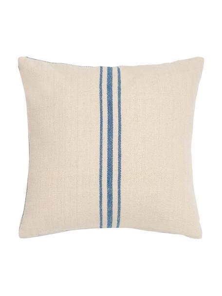 Federa arredo a righe Capri, 100% cotone, Color crema, blu, Larg. 45 x Lung. 45 cm