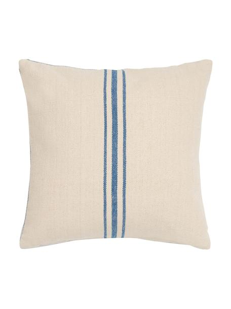 Kussenhoes Capri met strepen, 100% katoen, Crèmekleurig, blauw, 45 x 45 cm