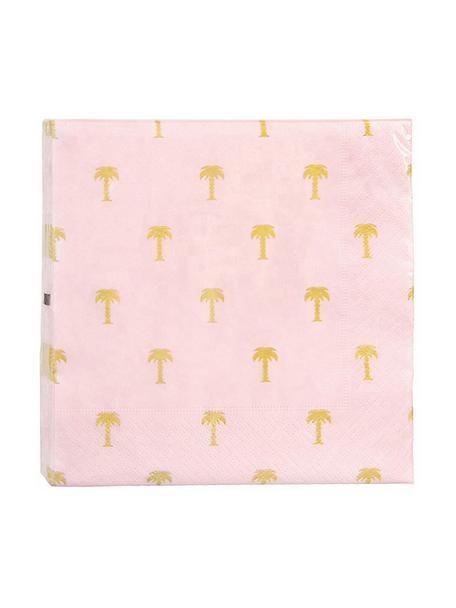 Serwetka z papieru Palmtree, 20 szt., Papier, Blady różowy, odcienie złotego, S 17 x D 17 cm