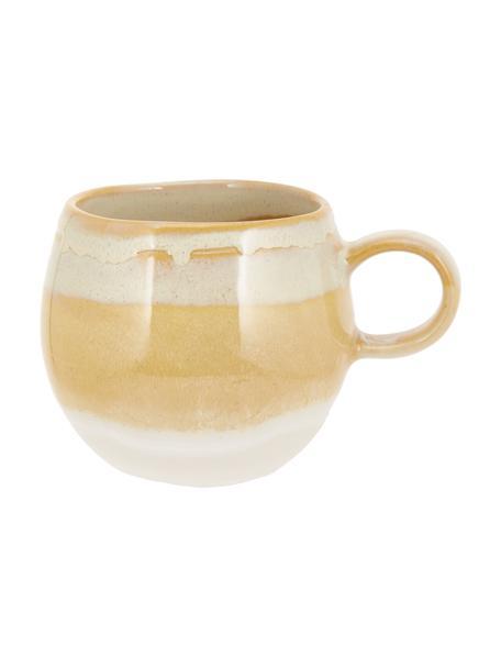 Taza de café artesanal April, Gres Una mitad vidriada, la otra mitad natural, lo que enfatiza el carácter de la artesanía., Tonos amarillos, Ø 9 x Al 8 cm