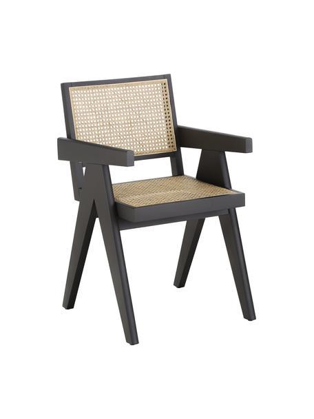 Sedia con braccioli e intreccio viennese Sissi, Struttura: legno massiccio di faggio, Seduta: rattan, Rattan, nero, Larg. 52 x Prof. 58 cm