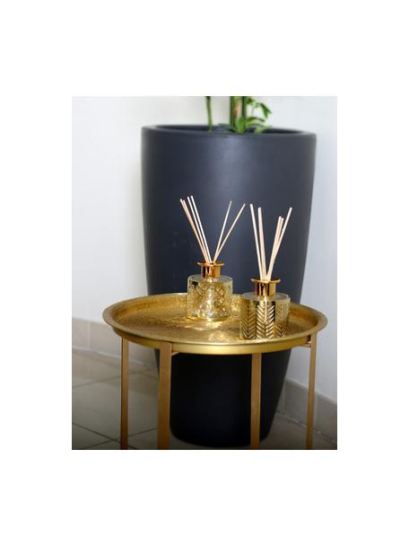 Diffusore Helion (vaniglia), Metallo, vetro, olio profumato, bastoncini di legno, Dorato trasparente, Ø 9 x Alt. 24 cm