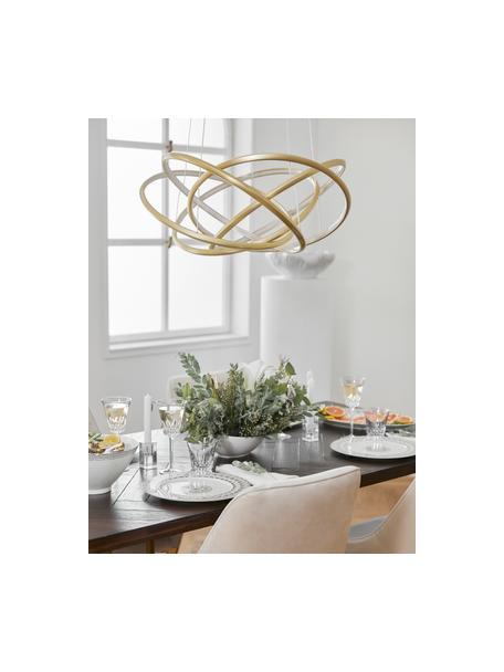 Grote LED hanglamp Saturn in goudkleur, Lampenkap: gepoedercoat aluminium, Diffuser: acryl, Baldakijn: vermessingd staal, Goudkleurig, Ø 72  x H 75 cm