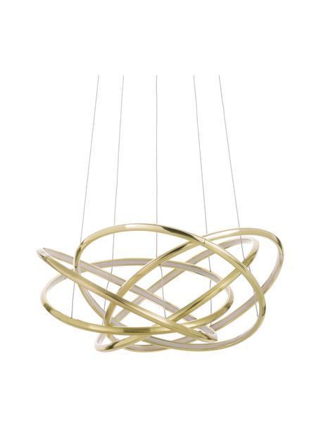 Große LED-Pendelleuchte Saturn in Gold, Lampenschirm: Aluminium, pulverbeschich, Baldachin: Stahl, vermessingt, Gold, Ø 72 x H 75 cm