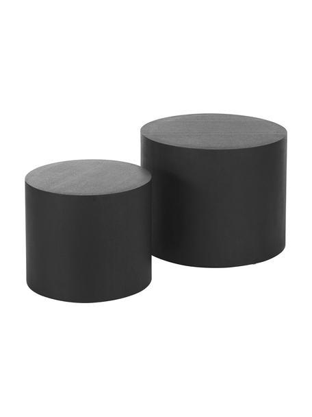 Beistelltisch-Set Dan aus Holz, 2-tlg., Mitteldichte Holzfaserplatte (MDF) mit Eschenholzfurnier, Schwarz, Set mit verschiedenen Größen