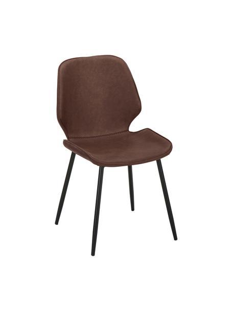 Kunstleren gestoffeerde stoelen Louis, 2 stuks, Bekleding: kunstleer (65% polyethyle, Poten: gepoedercoat metaal, Bruin, 44 x 58 cm