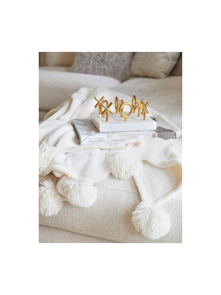 Zachte plaid Bomla in crème kleur met pompoms, Polyester, Crèmekleurig, 130 x 170 cm