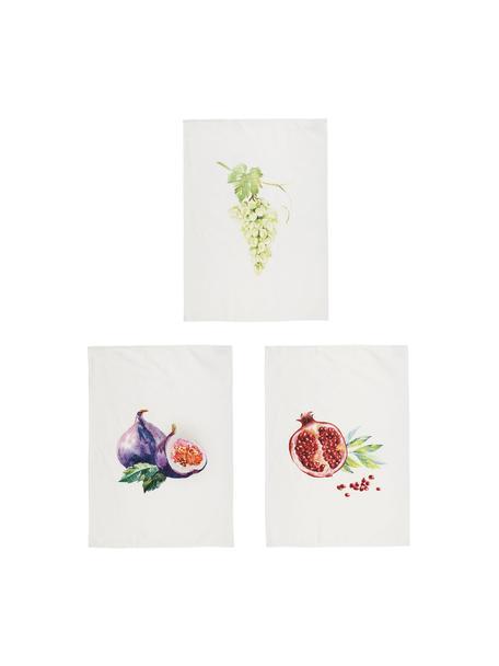Set de paños de cocina Fruits, 3uds., 100%algodón, Blanco, multicolor, An 50 x L 70 cm