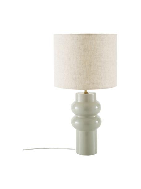 Lámpara de mesa grande de cerámica Christine, Pantalla: tela, Cable: plástico, Beige, gris, Ø 28 x Al 53 cm