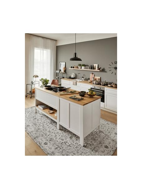 Vintage chenille vloerkleed Sofia in beige-grijs, handgeweven, Bovenzijde: 95% katoen, 5% polyester, Onderzijde: 100% katoen, Beige, grijs, B 160 x L 230 cm (maat M)