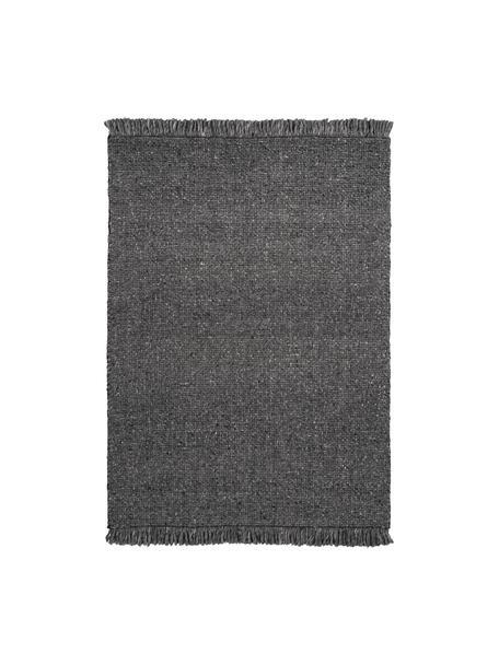 Handgeweven wollen vloerkleed Alvin in gevlekt antraciet met franjes, Bovenzijde: 60% wol, 40% viscose, Onderzijde: 100% katoen Bij wollen vl, Antraciet, gevlekt, B 80 x L 150 cm (maat XS)