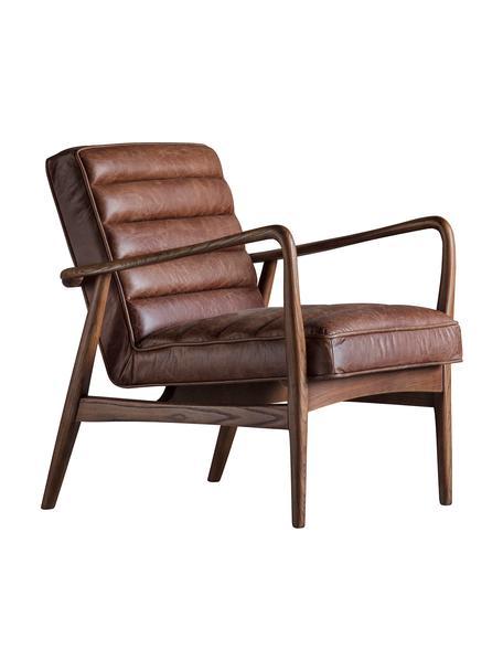 Leder-Loungesessel Datsun, Bezug: Genarbtes Leder, Gestell: Eschenholz, Braun, B 70 x T 74 cm