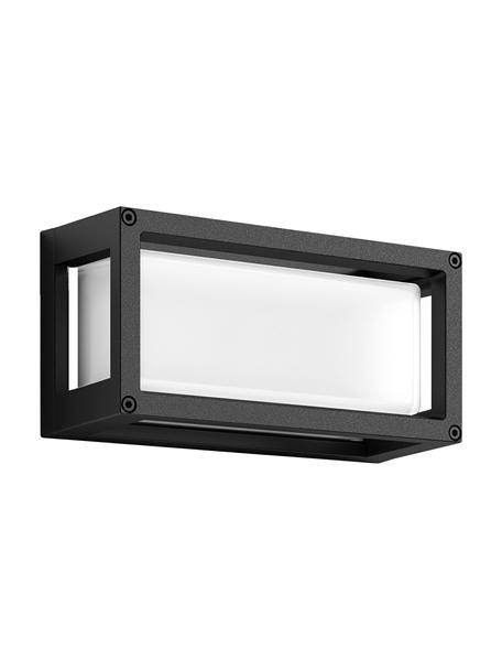 Applique da esterno color antracite Ray, Paralume: vetro opale, Struttura: alluminio rivestito, Antracite, bianco, Larg. 25 x Alt. 13 cm
