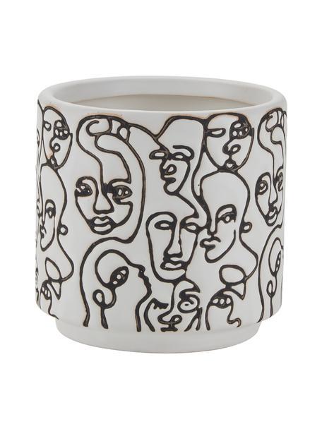Kleine plantenpot Face Artwork, Keramiek, Wit, zwart, Ø 12 x H 12 cm