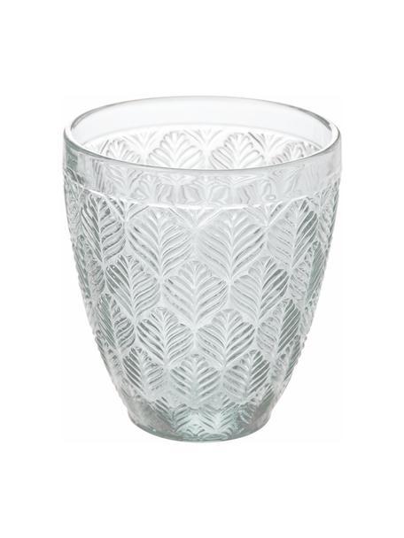 Wassergläser-Set Bali Leaf, 6er Set, Glas, Transparent, Ø 10 x H 10 cm
